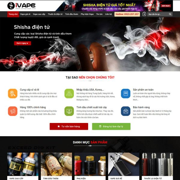 theme wordpress bán vape