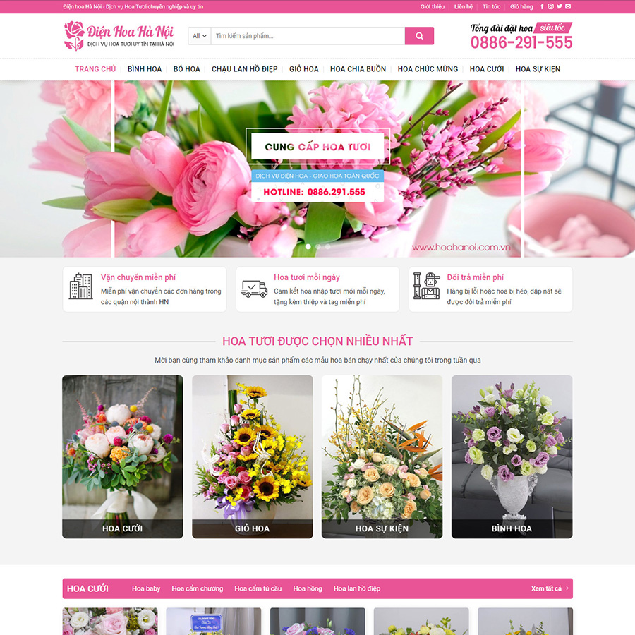 theme wordpress bán hoa tươi
