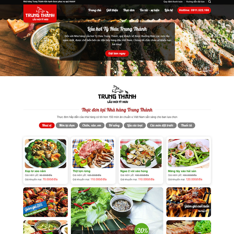 Theme wordpress nhà hàng