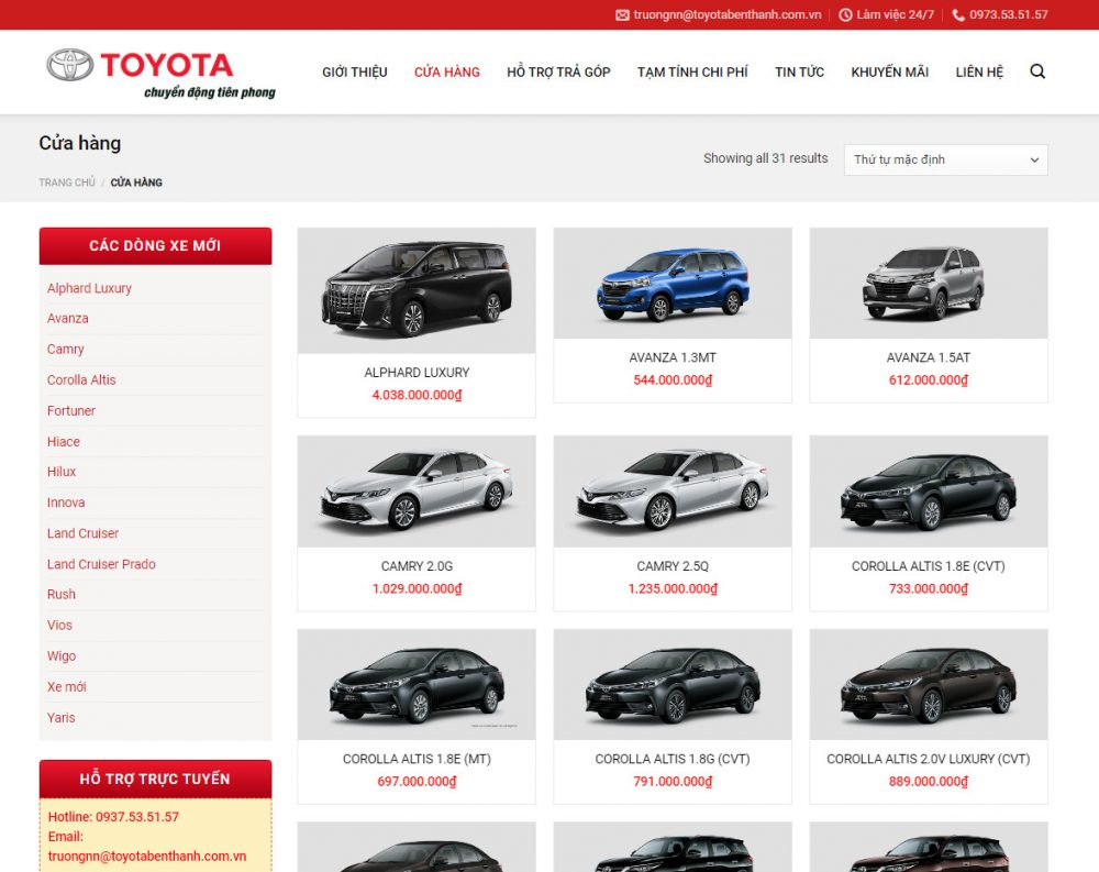 Theme wordpress bán ô tô đẹp