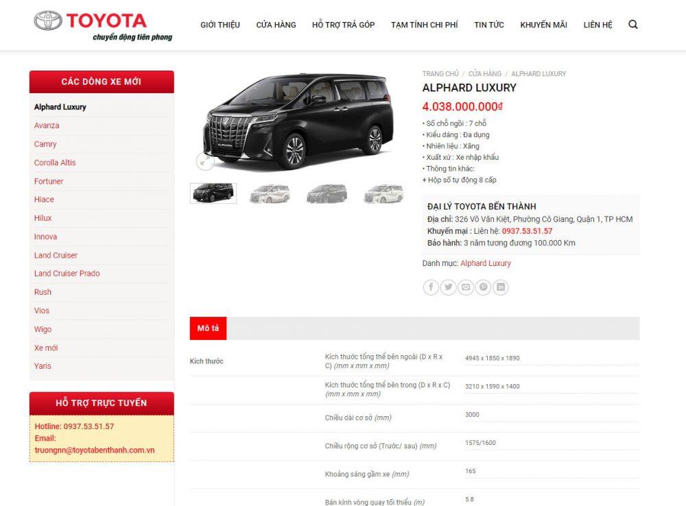 Chi tiết sản phẩm - mẫu theme wordpress bán ô tô đẹp