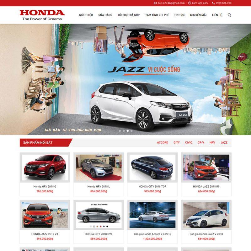 Theme wordpress bán ô tô Honda