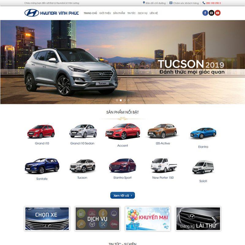 Theme wordpress đại lý xe Hyundai