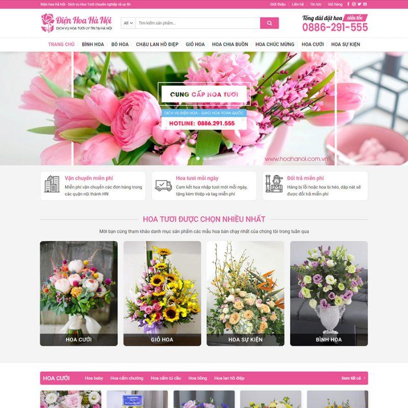 Theme wordpress giới thiệu sản phẩm hoa tươi.